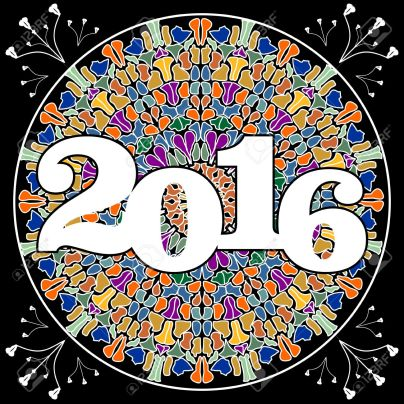 New year 2016 party billboard with pied mosaic mandala on black background.